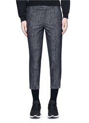 Neil Barrett Camouflage Jacquard Cropped Virgin Wool Pants Grey