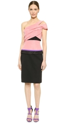 J. Mendel One Shoulder Dress Blush Noir