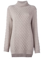 Chinti And Parker Funnel Neck Cable Jumper Nude And Neutrals