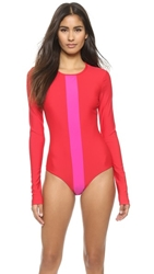 Cover Long Sleeve Swimsuit Red Fuchsia