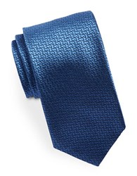 Hugo Geometric Textured Silk Tie Blue