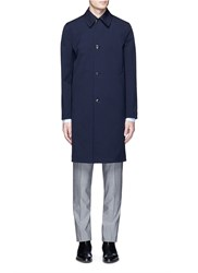 Paul Smith Water Resistant Bonded Wool Twill Coat Blue