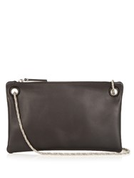 The Row Happy Hour 7 Leather Clutch Black