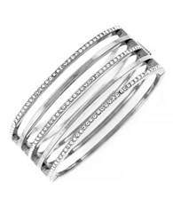 Vince Camuto Silvertone And Crystal Stacked Bangle Bracelet