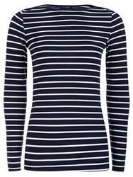 Hotsquash Close Fitting Boat Neck Top Navy And White