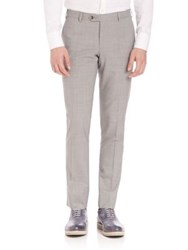 Pal Zileri Wool Slim Fit Dress Pants Grey