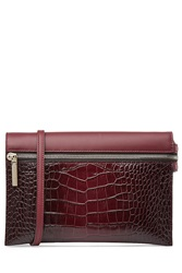 Victoria Beckham Embossed Leather Zip Pouch Cross Body Shoulder Bag Red