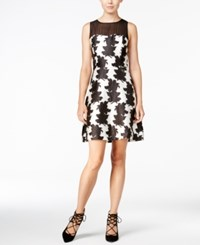 Kensie Printed Contrast Fit And Flare Dress French Vanilla Combo