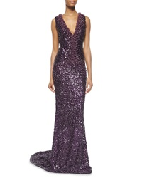 Pamella Roland Allover Sequin Pearly Beaded Gown