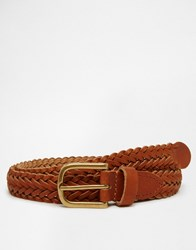 Asos Super Skinny Leather Plaited Belt In Tan Tan