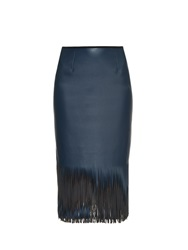 Cedric Charlier Faux Leather Fringed Midi Skirt
