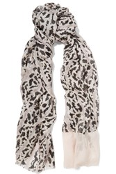 Proenza Schouler Printed Modal And Silk Blend Scarf Taupe