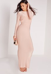 Missguided Slinky Long Sleeve Low Back Maxi Dress Champagne Beige