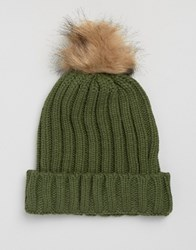 7X Cable Hat With Faux Fur Bobble In Khaki Green