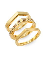Elizabeth And James Dia White Sapphire Stella Stacked Ring Set Gold