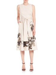 Josie Natori Embroidered Belted Dress Amaretto