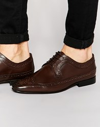 Kg By Kurt Geiger Eccleshall Derby Brogues In Leather Brown
