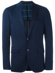 Hackett Notched Lapel Blazer Blue