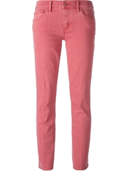 Tory Burch Cropped Slim Fit Jeans Pink And Purple