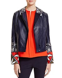 Tory Burch Geo Embroidered Leather Motorcycle Jacket Tory Navy Pottery Placed