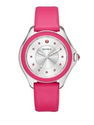 Michele Cape Pink Topaz Stainless Steel And Silicone Strap Watch Hot Pink