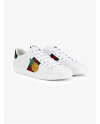 Gucci Embroidered Low Top Leather Ace Trainers White Green Red