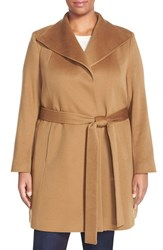 Plus Size Women's Fleurette Wing Collar Cashmere Wrap Coat