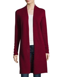 In Cashmere Long Open Front Cardigan Wine