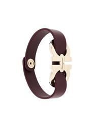 Salvatore Ferragamo Double Gancini Wrap Bracelet Brown