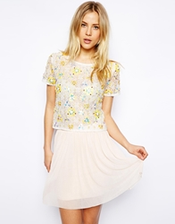 Asos T Shirt In Lace With Floral Embellishment Ivory