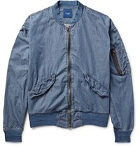 Beams Ma 1 Cotton Chambray Bomber Jacket Blue