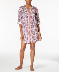 Lucky Brand Contrast Trimmed Flannel Sleepshirt Ivory Floral