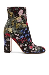 Valentino Camu Garden Jacquard Booties In Black Floral