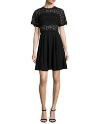 Giambattista Valli Short Sleeve Sheer Lace And Crepe Dress Black