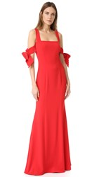 Badgley Mischka Collection Bow Sleeve Gown Bright Red