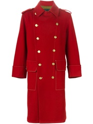 Jean Paul Gaultier Vintage Double Breasted Military Long Coat Red
