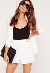 Missguided Double Belt Tie High Waisted Shorts White White