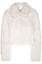Topshop Unique Maida Cropped Shearling Coat Off White