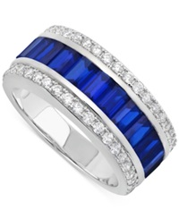 Crislu Platinum Over Sterling Silver Cubic Zirconia Baguette And Round Ring Blue