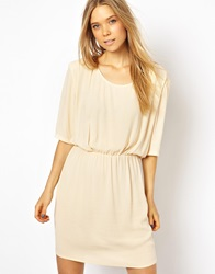 American Vintage Woven Dress With Shoulder Pad Detail Ivory