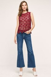 Anthropologie Mih Lou Cropped Flare Jeans Blue Fade 26 Pants