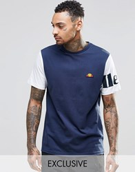 Ellesse T Shirt With Contrast Sleeves Navy