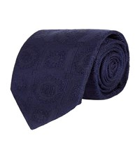 Turnbull And Asser Jacquard Square Silk Tie Unisex Navy