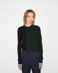 Maison Martin Margiela Paneled Pullover Cardigan Forest Green Navy Black