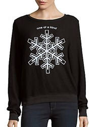 Wildfox Couture One Of A Kind Snowflake Pullover Jet Black