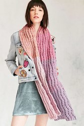 Urban Outfitters Squiggle Rib Knit Scarf Multi