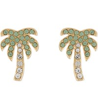 Kate Spade Out Of Office 12Ct Gold Plated Palm Tree Stud Earrings Ltgreenmlt