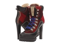 Dsquared Lace Up Heeled Winter Boot Black Red