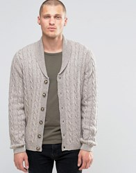 Asos Shawl Neck Cable Cardigan In Wool Mix Beige