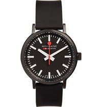 Mondaine Stop2go Brushed Steel Watch Black